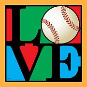 Modern Pop Art Posters - Love Baseball Poster by Gary Grayson