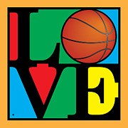 Vector Art Prints - Love Basketball Print by Gary Grayson