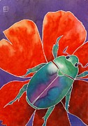 Insect Paintings - Love Beetle by Robert Hooper