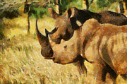 Flirtation Paintings - Love between rhinos by Georgi Dimitrov