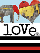Elephant Mixed Media Posters - LOVE BIG - Elephant Heart Typography Print Poster by Anahi DeCanio