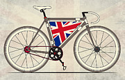 Fixed Gear Posters - Love Bike Love Britain Poster by Andy Scullion