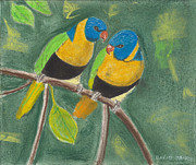Parrot Pastels Prints - Love Birds Print by David Jackson