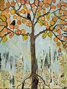 Tree Art Paintings - Love Birds in Paris by Blenda Studio
