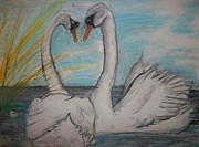 Swans... Pastels Prints - Love Birds Print by Jake Huenink