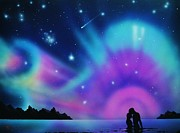 Aurora Art Paintings - Love by the Aurora Borealis by Thomas Kolendra