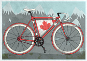 Fixed Gear Posters - Love Canada Bike Poster by Andy Scullion