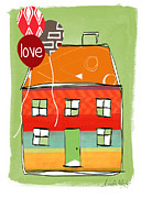 Balloons Prints - Love Card Print by Linda Woods