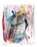 Nude Young Man Prints - Love Colors  Print by Mark Ashkenazi