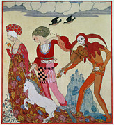 Colorful Clothing Framed Prints - Love Desire and Death Framed Print by Georges Barbier
