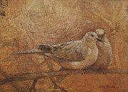 Golden Brown Prints - Love Doves Print by Sandra Quintus