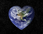 Care Digital Art Prints - Love earth Print by Delphimages Photo Creations