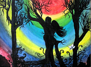 Dark Energy Painting Originals - Love Energy by Veronica Bahman
