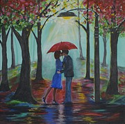 Couple Hugging Paintings - Love Everlasting by Leslie Allen
