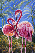 Love Flamingos  Print by Yelena Rubin