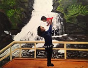Waterfalls Paintings - Love Flows like the WaterFalls by Brindha Naveen