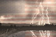 Lightning Gifts Posters - Love For Country Poster by James Bo Insogna