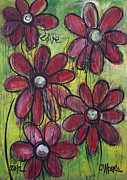 Abstracted Painting Posters - Love For Five Daisies Poster by Laurie Maves