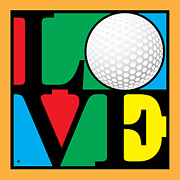Modern Pop Art Posters - Love Golf Poster by Gary Grayson