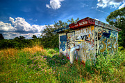 Hut Prints - Love Graffiti Covered Building in Field Print by Amy Cicconi