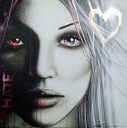 Beautiful Eyes Posters - Love Hate Poster by Christian Chapman Art