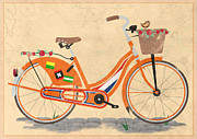 Old Bicycle Posters - Love Holland Love Bike Poster by Andy Scullion
