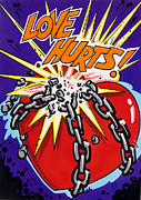 Pow Framed Prints - Love Hurts Framed Print by MGL Studio