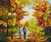 Road Painting Prints - Love in autumn Print by Veikko Suikkanen