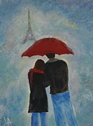 Embracing Painting Originals - Love In Paris by Leslie Allen