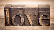 Words Background Prints - Love in printing blocks Print by Jane Rix