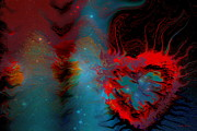 Hearts Digital Art - Love In Space by Linda Sannuti