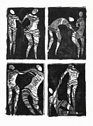 Linocut Reliefs Metal Prints - Love is a dance Metal Print by Gun Legler