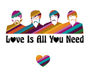 Fab Four Digital Art - Love is All You Need by Anita Ponne