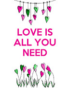 Green Framed Prints Digital Art - Love is all you need by Kelly McLaughlan