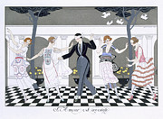 Dresses Framed Prints - Love is Blind Framed Print by Georges Barbier