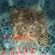 Wine Reflection Art Mixed Media Prints - Love is Everything Background Print by Art World