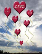 Valentine Sentiments Posters - Love is In The Air Blue Sky Clouds Poster by Cathy  Beharriell