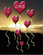 Valentine Sentiments Posters - Love is In The Air Golden Silhouette Poster by Cathy  Beharriell