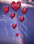 Valentine Sentiments Posters - Love is in The Air Rainbow Poster by Cathy  Beharriell