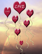 Valentine Sentiments Posters - Love Is in the Air Sunshine Rainbow Poster by Cathy  Beharriell