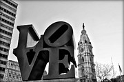Love Park Digital Art Framed Prints - Love is just Black and White Framed Print by Bill Cannon