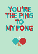 Tennis Digital Art Metal Prints - Love is like ping pong Metal Print by Budi Satria Kwan