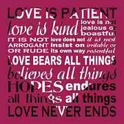 1 Corinthians 13:4 Framed Prints - Love is Patient - Heart Design Framed Print by Ginny Gaura