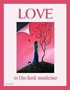 Faery Artists Painting Posters - Love Is The Best Medicine by Shawna Erback Poster by Shawna Erback