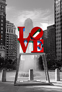 Love Park Framed Prints - Love isnt always black and white Framed Print by Paul Ward