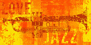 Trumpet Digital Art Prints - Love Jazz Print by David G Paul