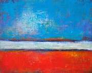 Red White And Blue Paintings - Love Land Sky by Johane Amirault
