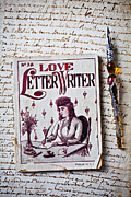 Messages  Framed Prints - Love letter writer book Framed Print by Garry Gay
