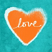 Orange Art Posters - Love Poster by Linda Woods