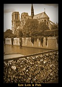 Lock Greeting Cards Posters - Love Locks in Paris Poster by John Malone